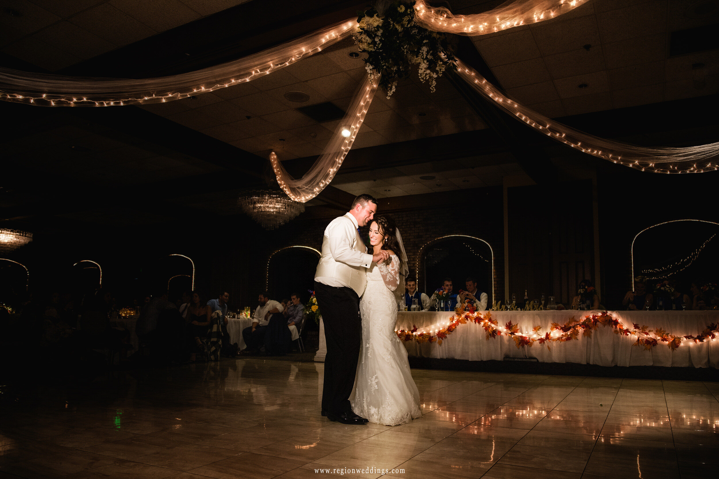 First dance for the bride and groom during a Fall wedding reception.