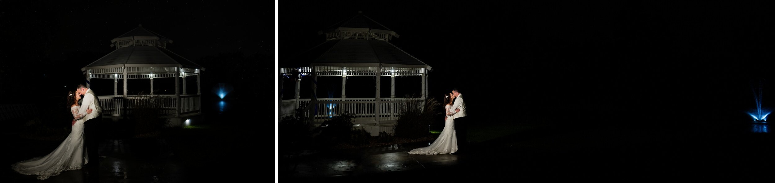 Slow dance outside at night for the bride and groom with a lit up fountain and gazebo.
