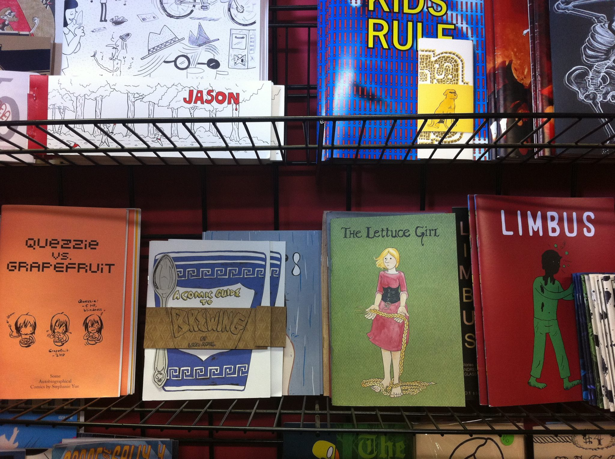 The Lettuce Girl Pt. IV  sitting on a shelf all the way out in Chicago Comics. Photo Credit: Dave Kelly
