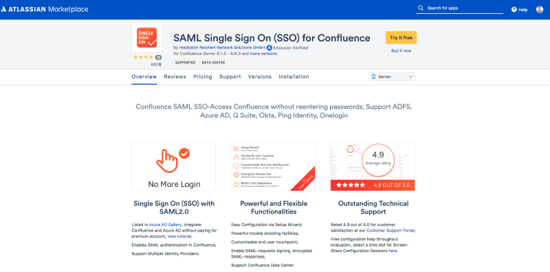 Marketplace Listing von  SAML Single Sign On (SSO) for Confluence