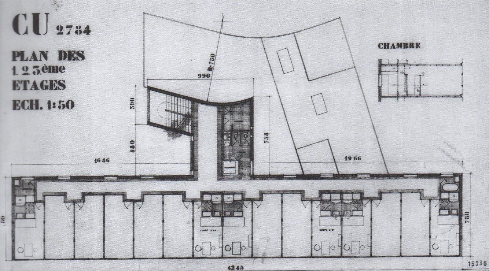 Le Corbusier, Pavillion Suisse (Paris, 1933). North is up.