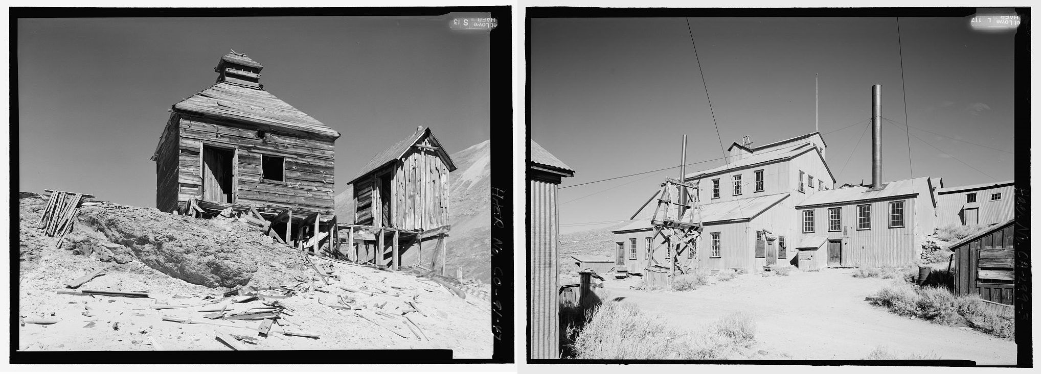 Left: Shenandoah-Dives Mill, San Juan County, CO. From loc.gov Right: Standard Gold Mill, Bodie, CA. From loc.gov