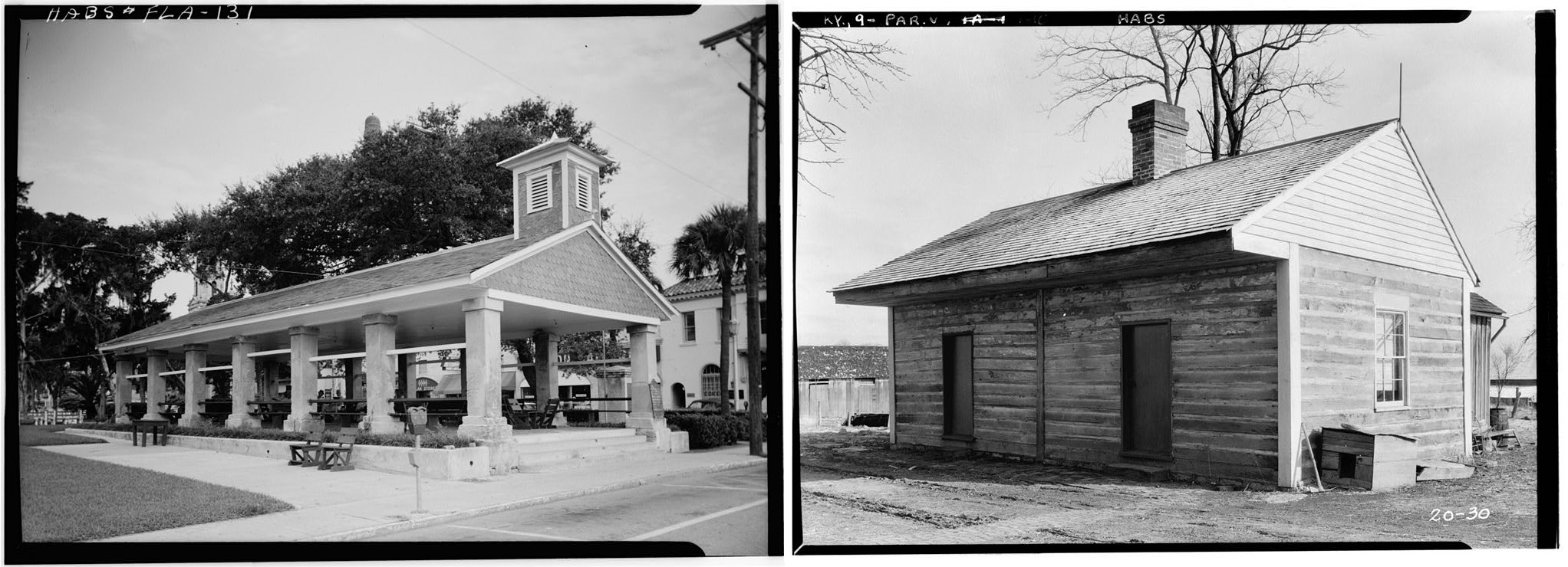 Left: Old slave market, St. Augustine, Fla. From loc.gov Right: Slave quarters, Bourbon County, KY. From loc.gov