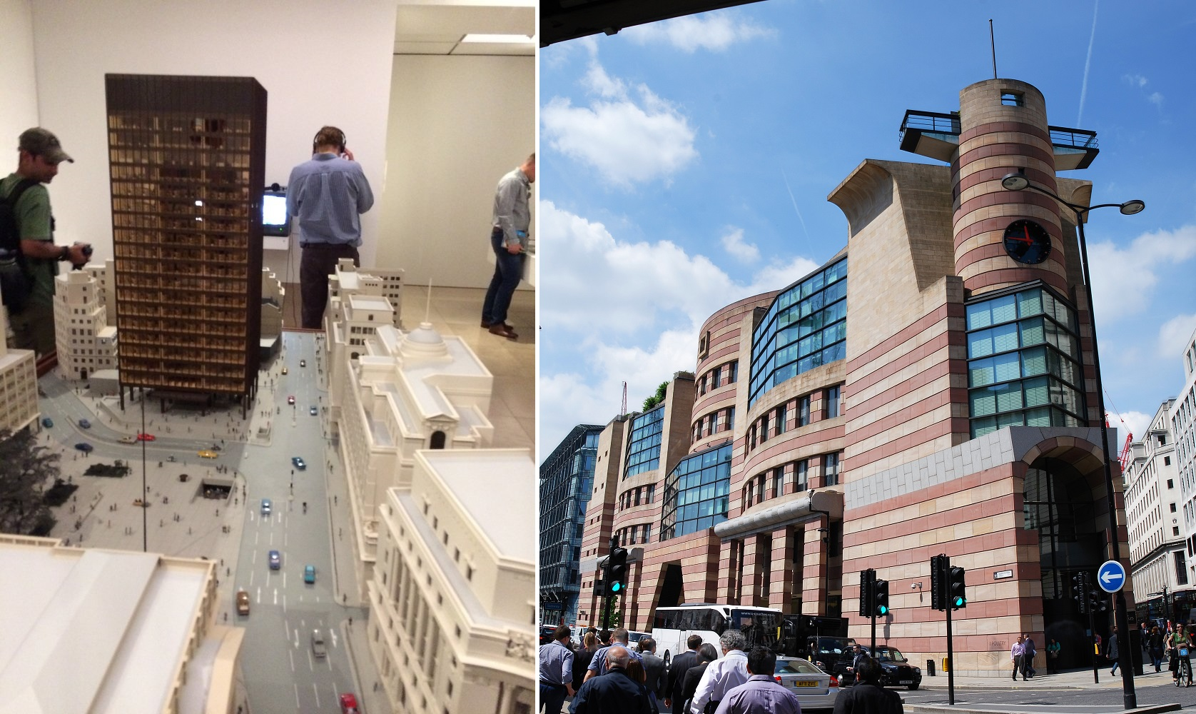 Left: RIBA exhibit. Right: Number One Poultry. Photos by Anthony Denzer