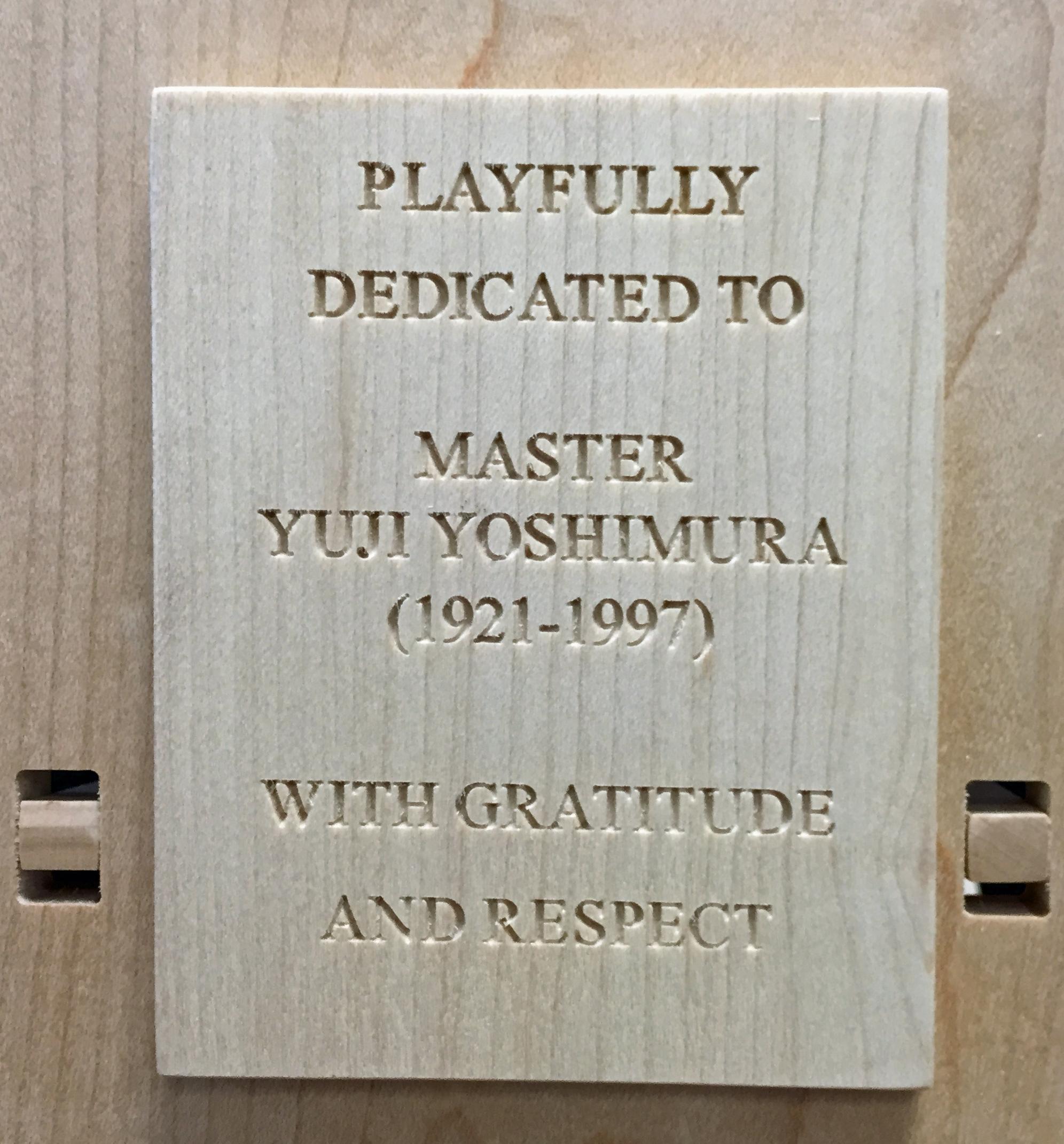 The dedication to my first bonsai teacher.