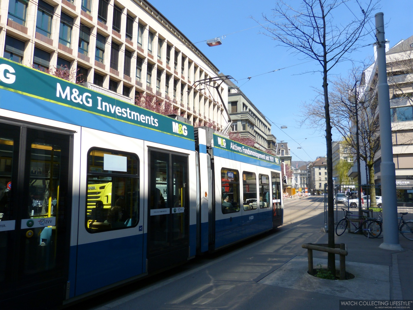 Taking the ZVV Tram at the Stockerstrasse stop.
