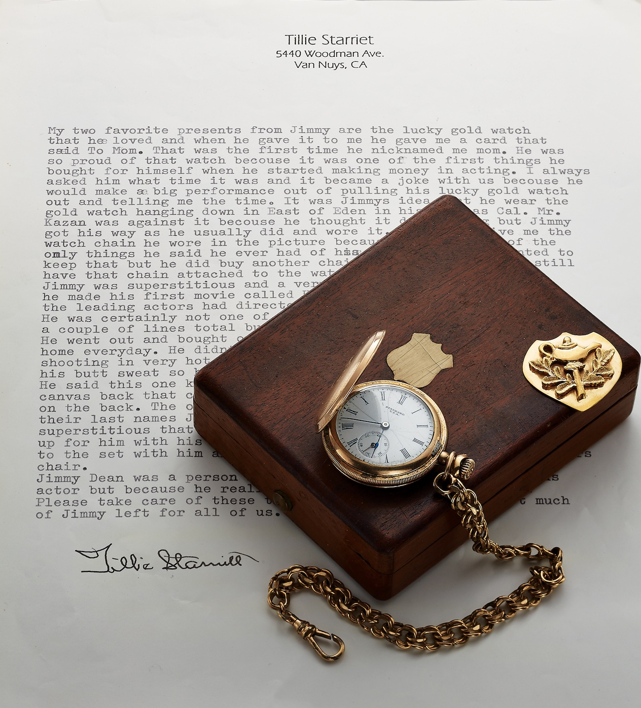 James Dean pocket watch on letter.jpg