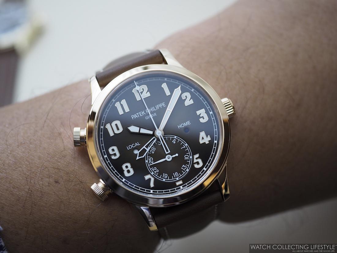 Patek Philippe Calatrava Pilot Travel Time ref. 5524R wrist shot