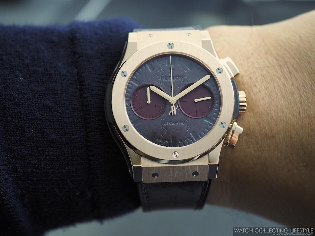 Hublot Classic Fusion Chronograph Berluti Scritto Bordeaux Wristshot