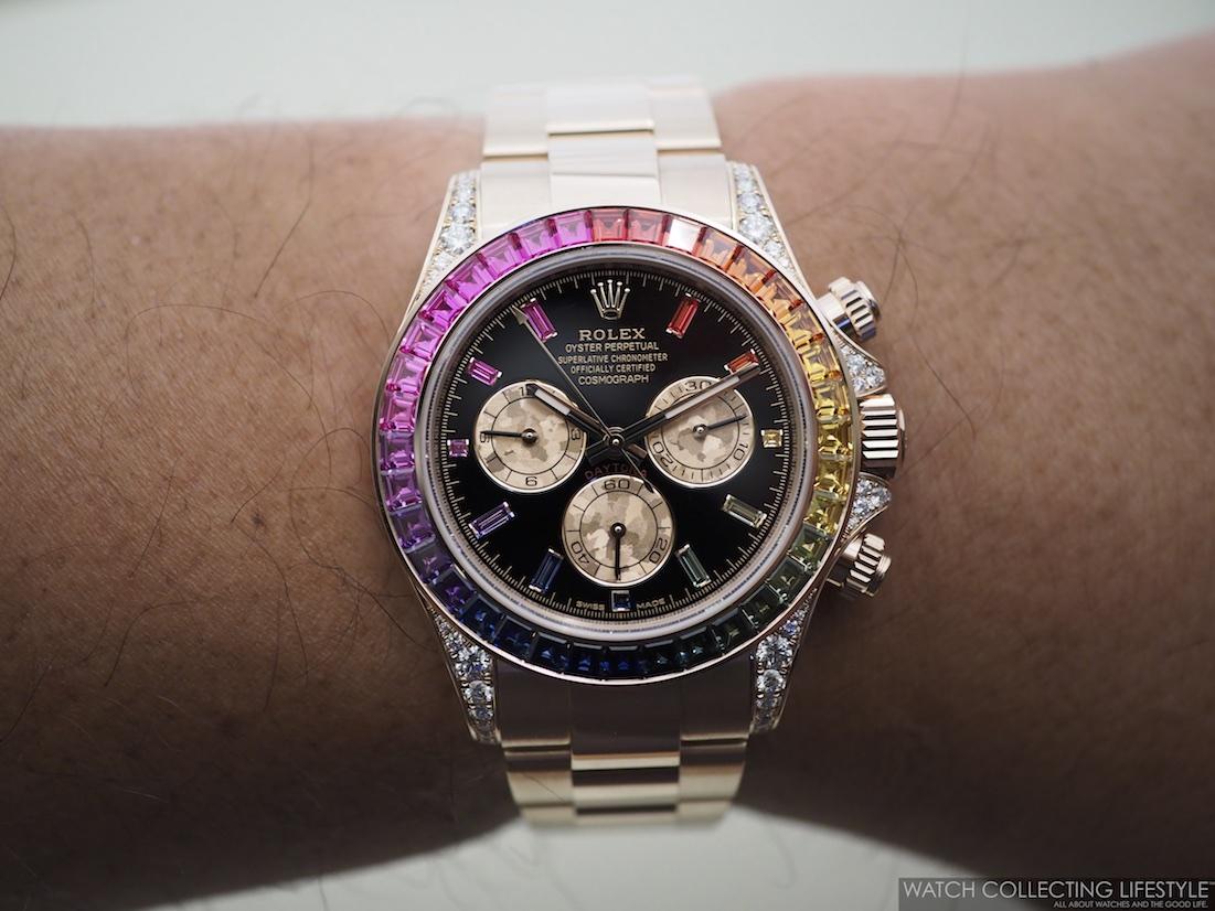 Rolex Cosmograph Daytona Everose Rainbow ref. 116595RBOW Wristshot