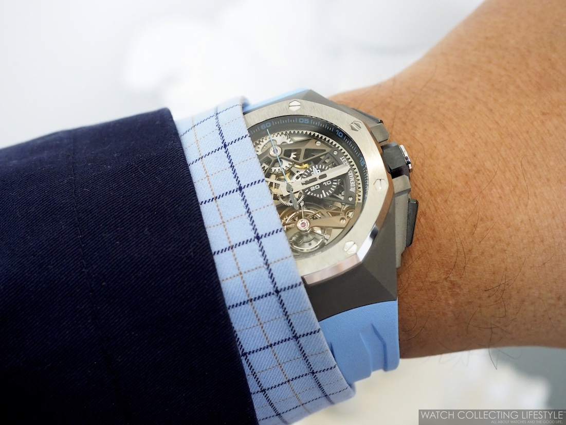 Audemars Piguet Royal Oak Concept Tourbillon Chronograph Openworked Blue Wristshot