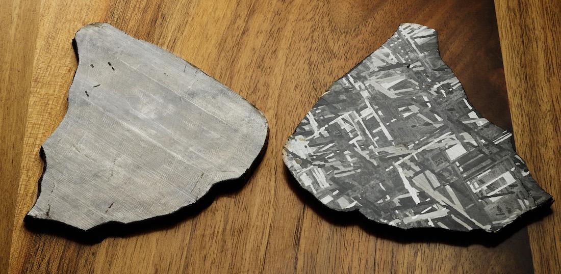 10_Meteorite_before_and_after_nitric_acid_treatment - Romain_Gauthier_Prestige_HMS_Stainless_Steel.jpg