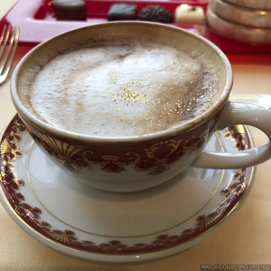 Cappuccino with gold flakes at Burj Al Arab