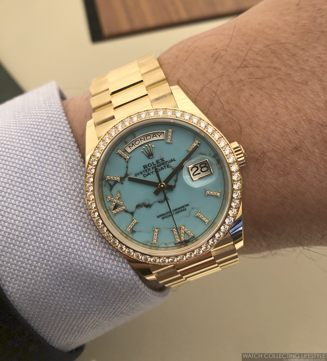 Rolex Day-Date ref. 128348RBR Turquoise Dial Wristshot