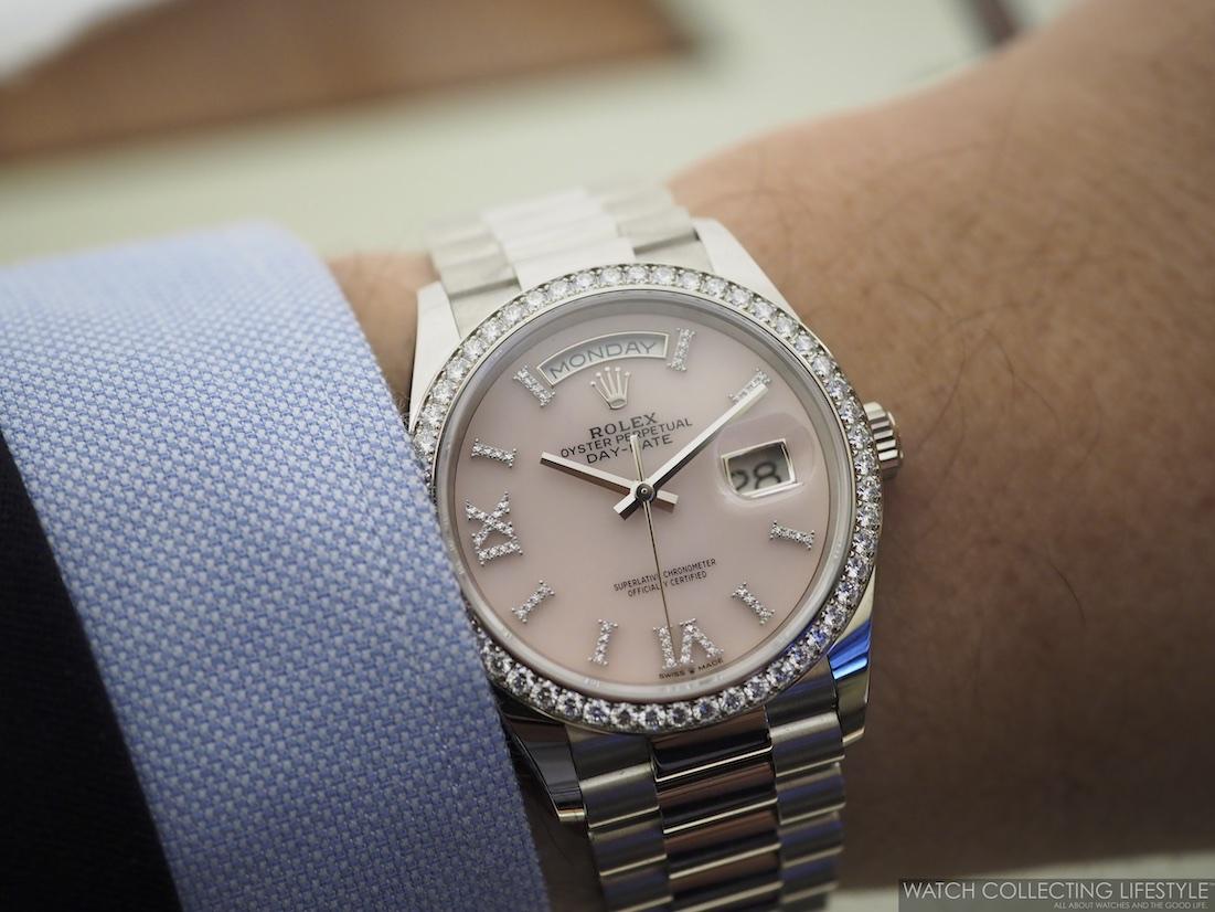Rolex Day-Date ref. 128349RBR Pink Opal Wristshot
