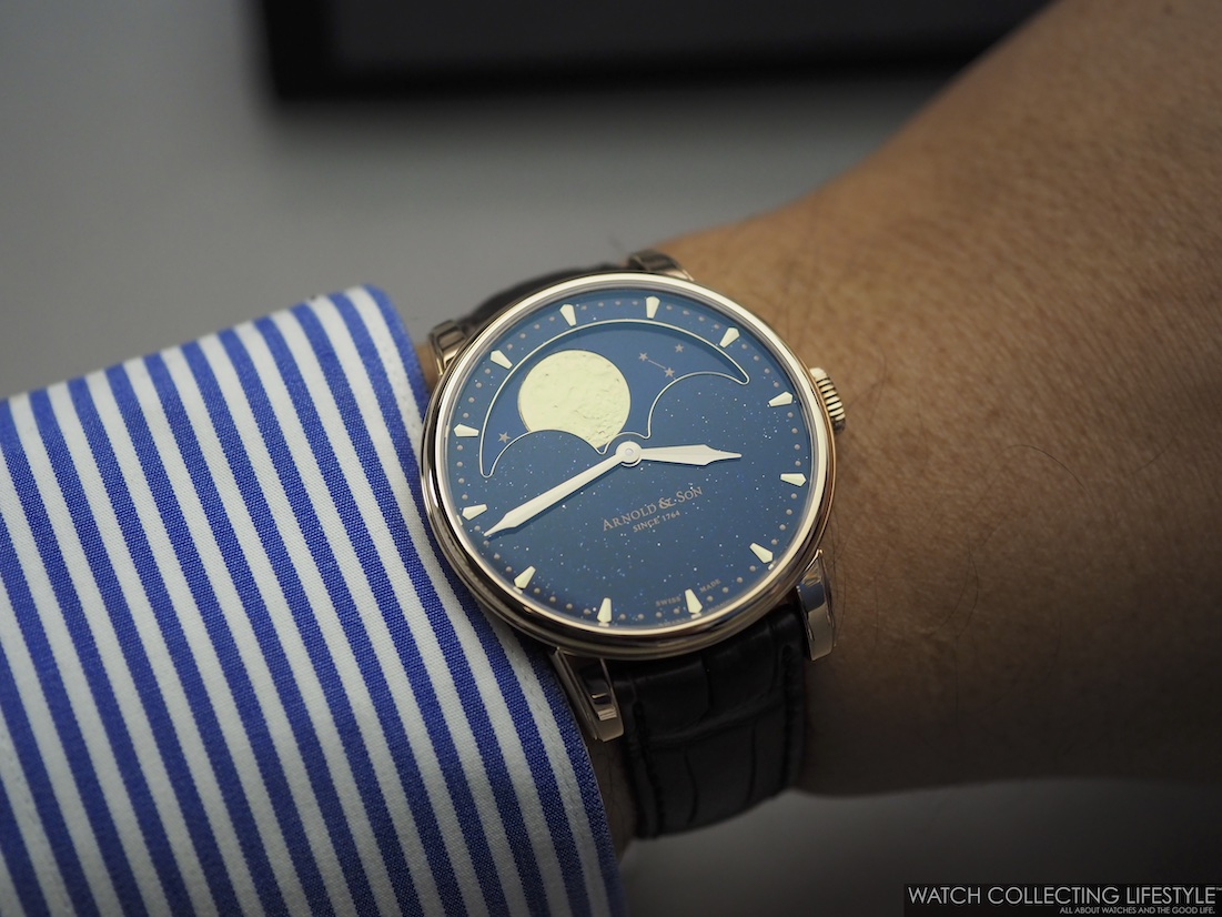Arnold & Son HM Perpetual Moon Aventurine Wristshot