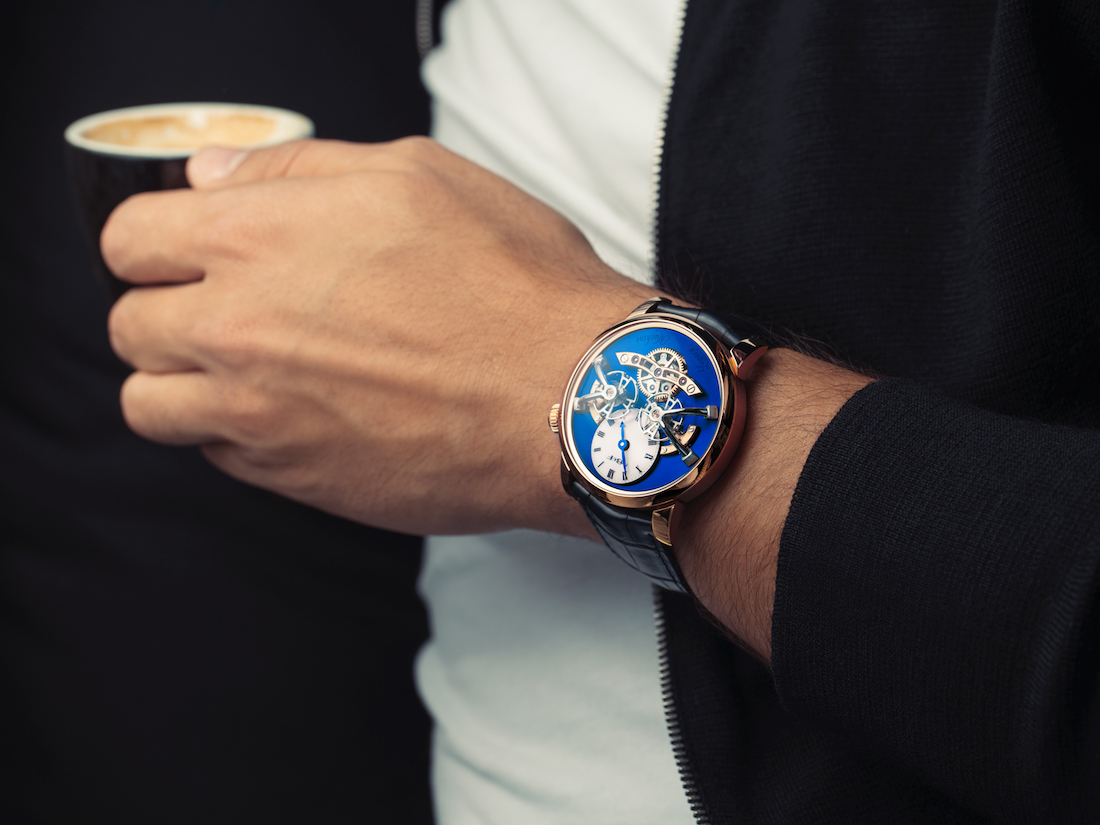 MB&F LM2 Red Gold Blue Wristshot WCL