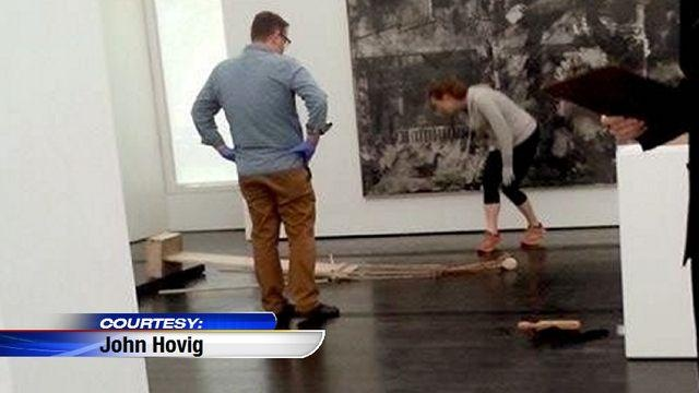 This girl accidentally backed into and knocked over the late Cy Twombly's sculpture, Untitled 1954 , on Sunday at Houston's Menil. ..errrmm........yikes.