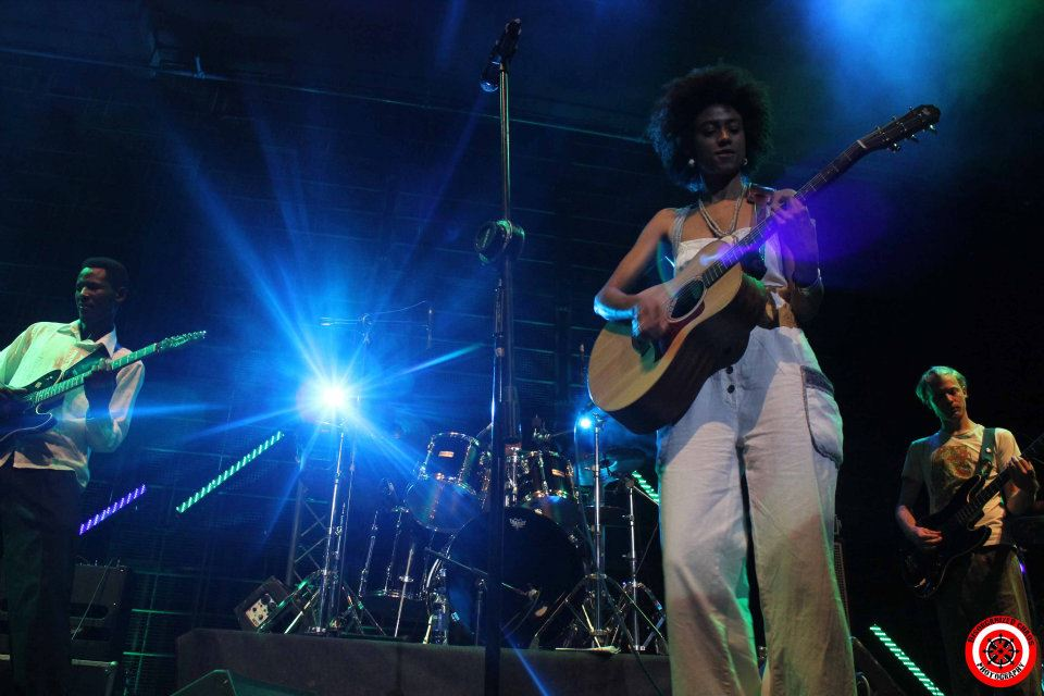 "Shishani performing at the ""Last Band Standing"" competition, which she and her band won in April of 2012 in Namibia."
