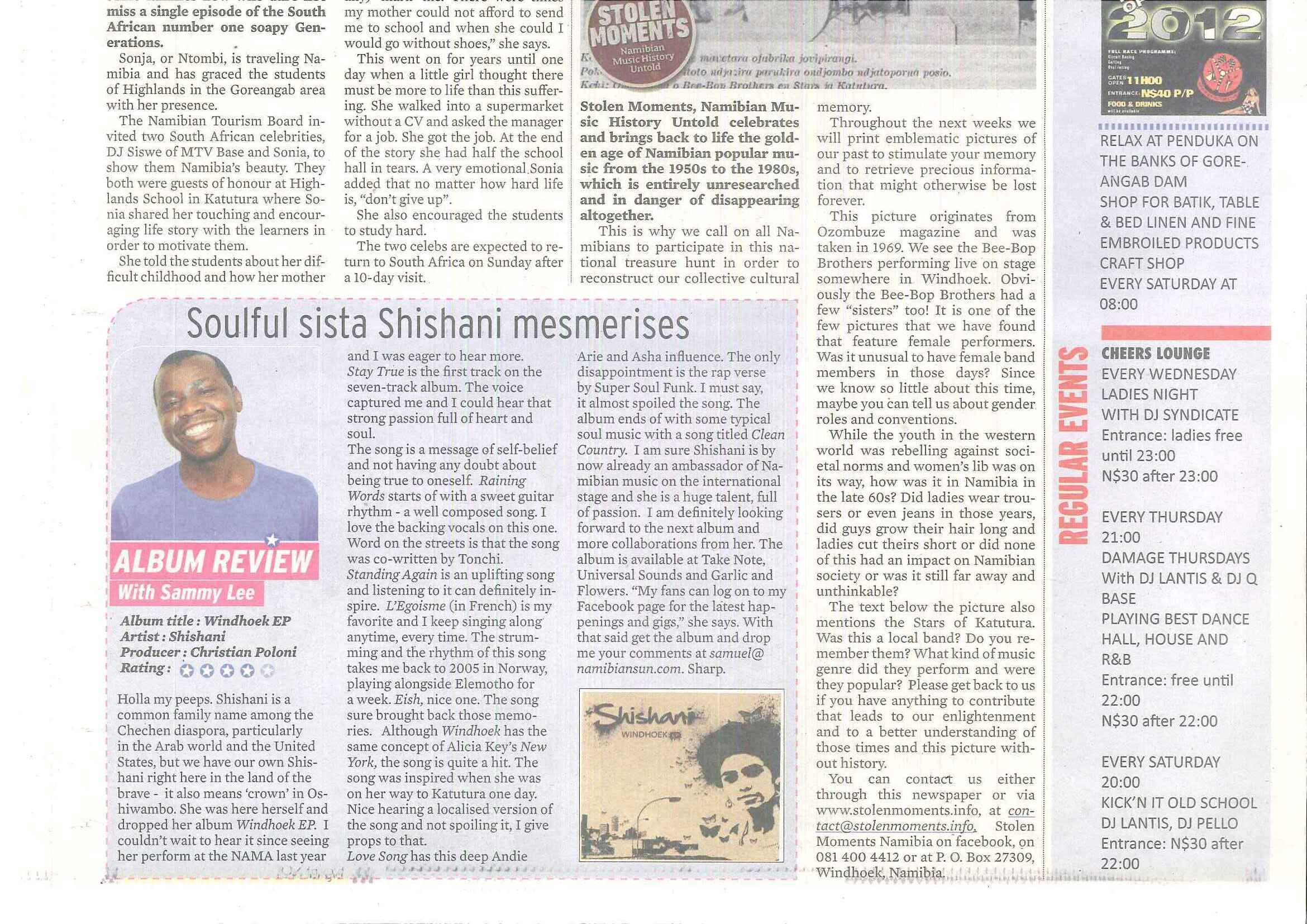 Shishani -CD review Namibian Sun 23 March 2012.jpg