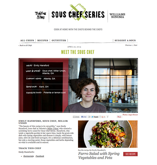 Emily Hansford, Sous Chef, Miller Union