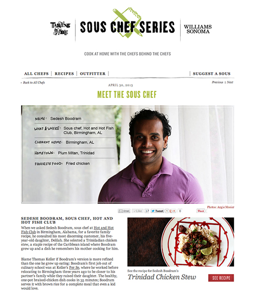 Sedesh Boodram, Sous Chef, Hot and Hot Fish Club