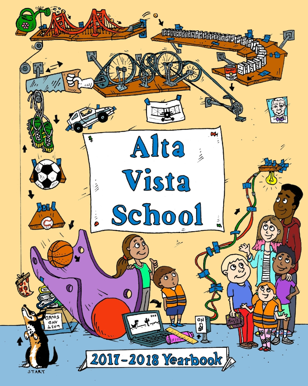 Yearbook Cover - Patrick got to draw the cover for Alta Vista School's 2017/2018 yearbook. The drawing is of a Rube Goldberg machine that contains elements that represent the lower and middle school. The student-run yearbook committee gets credit for the cover idea. Patrick just drew it!
