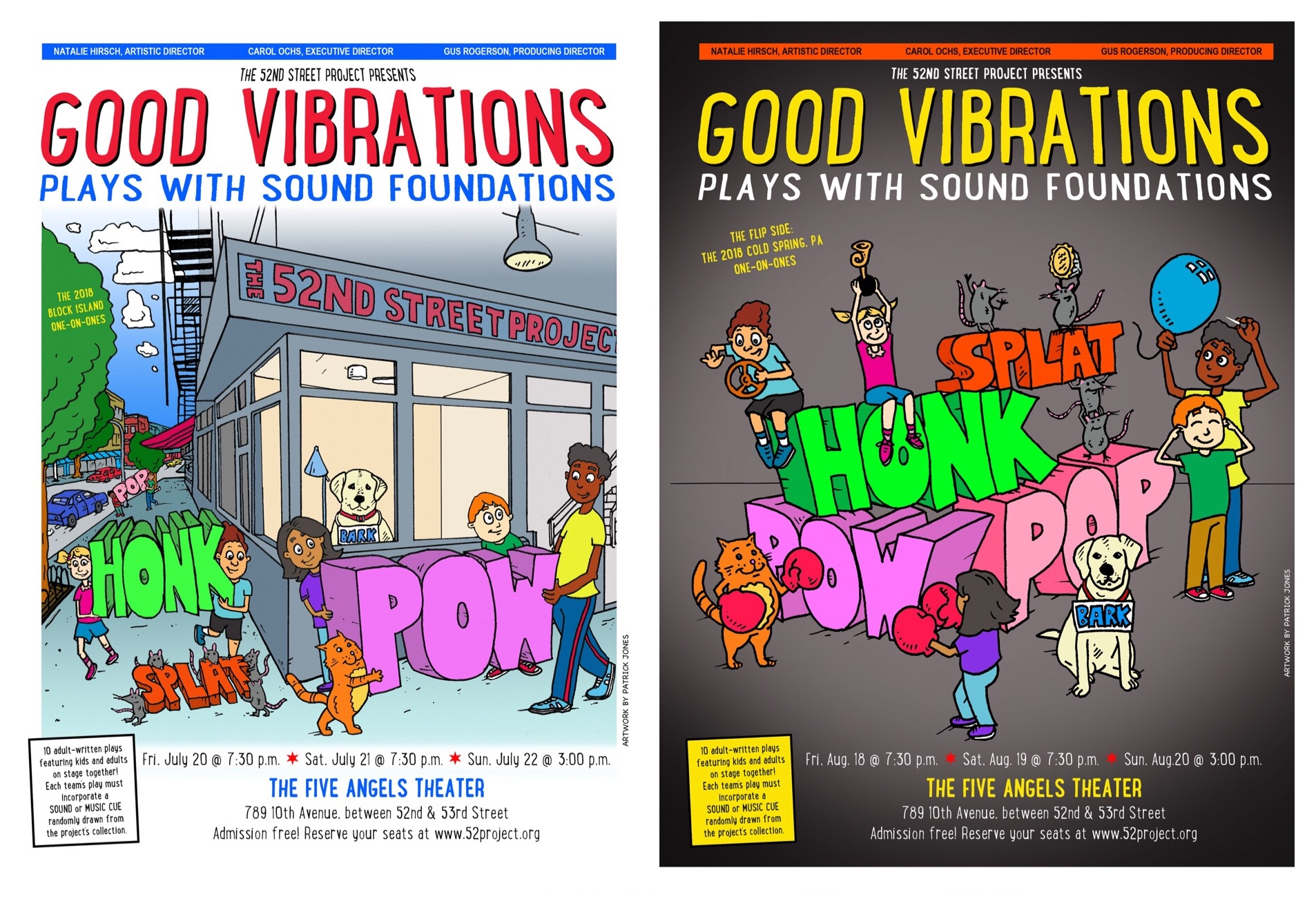 Drawings for the 52nd Street Project's summer 2018 posters - Patrick illustrated the posters for the 52nd Street Project's summer plays. George Babiak did the layout. Check them out on display on the corner of 52nd Street and 10th avenue in NYC and then go see the shows. More info HERE.