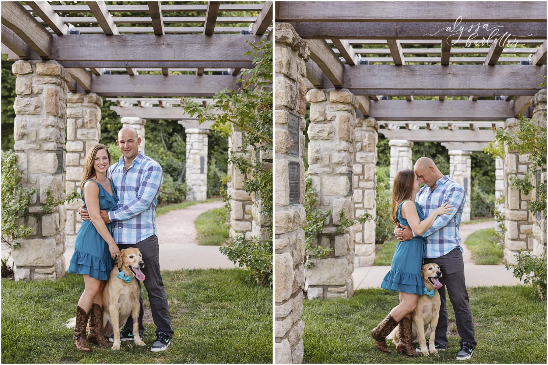 engagement photography kansas city loose park dog rose garden