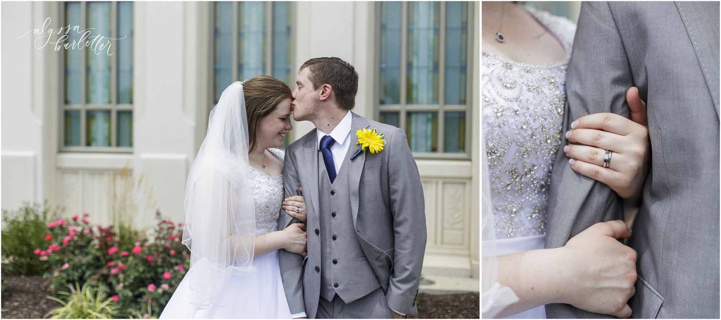 kansas city lds temple wedding bride groom blue engagement ring