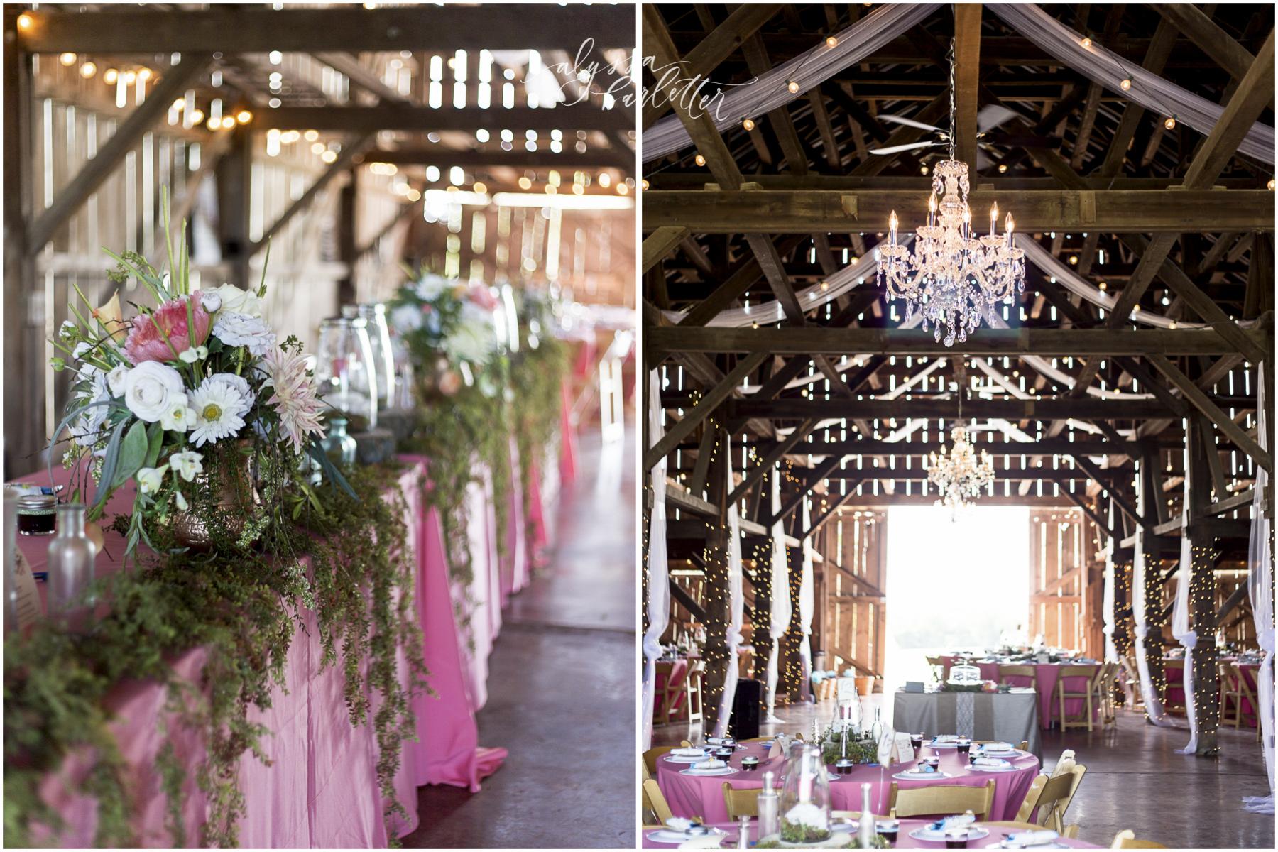 kansas city wedding photography centerpiece table reception journey home pink barn