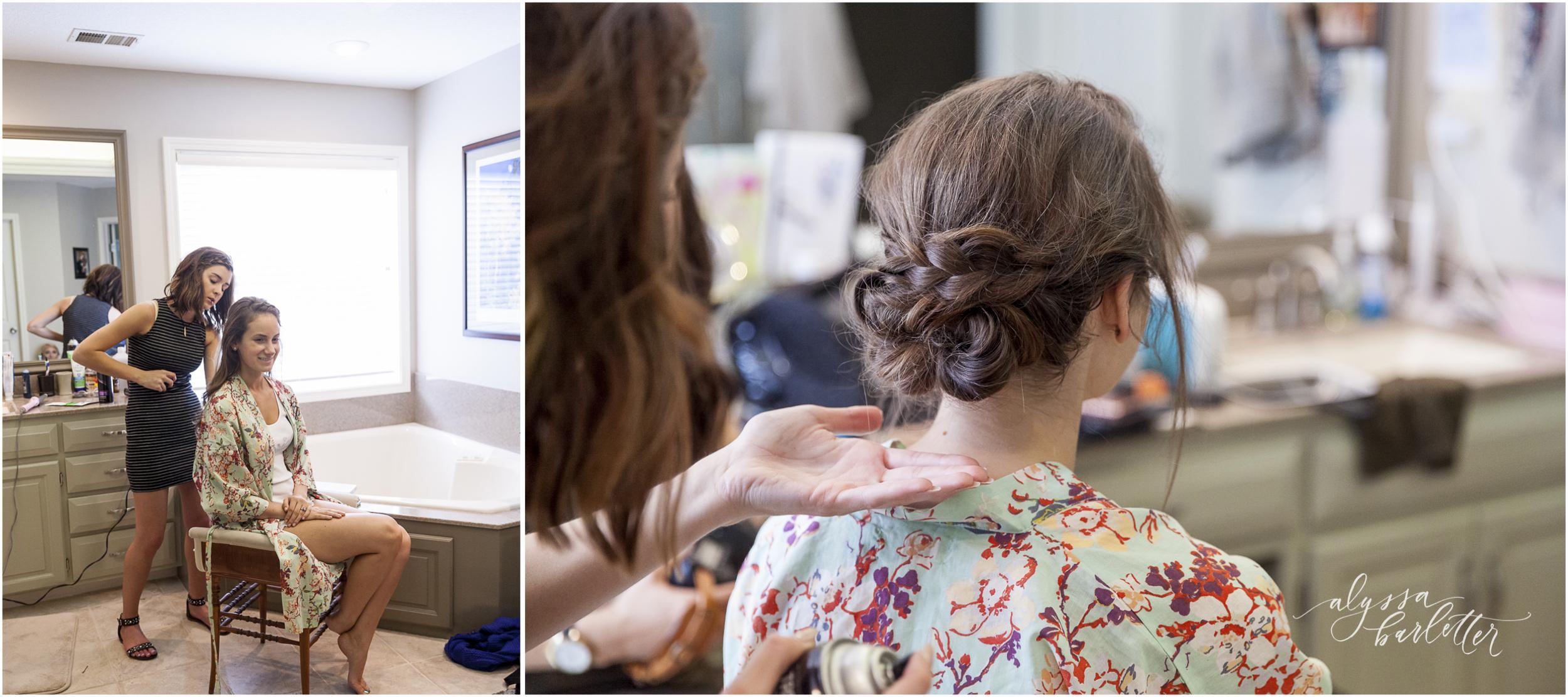 kansas city wedding budget bride getting ready robe hair