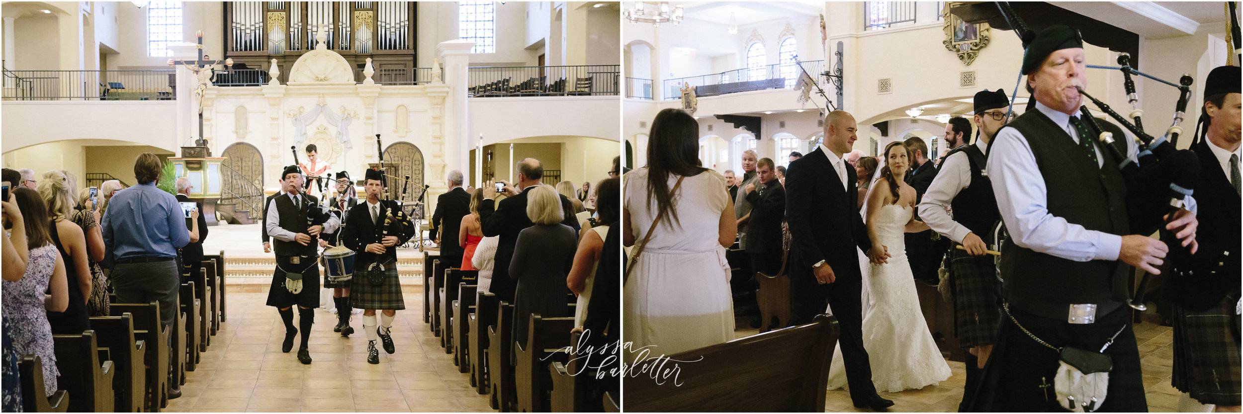 kansas city wedding photography catholic church visitation ceremony bagpipes recessional