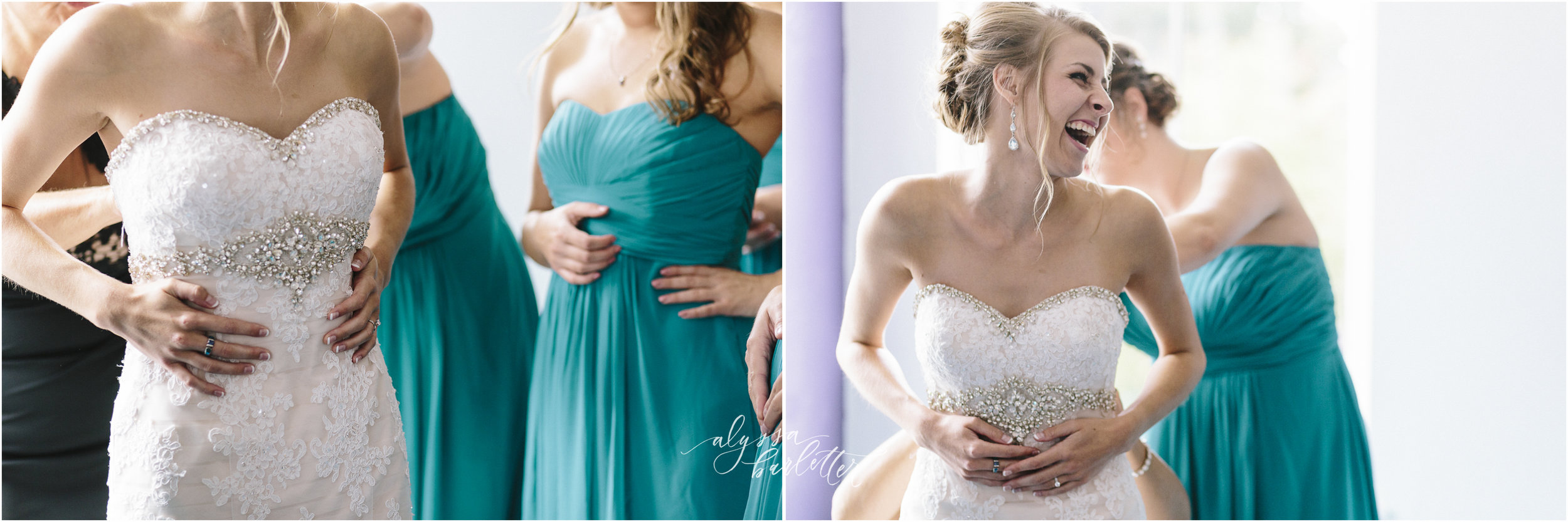 kansas city wedding photographer redeemer midtown bride getting ready dress bridesmaids