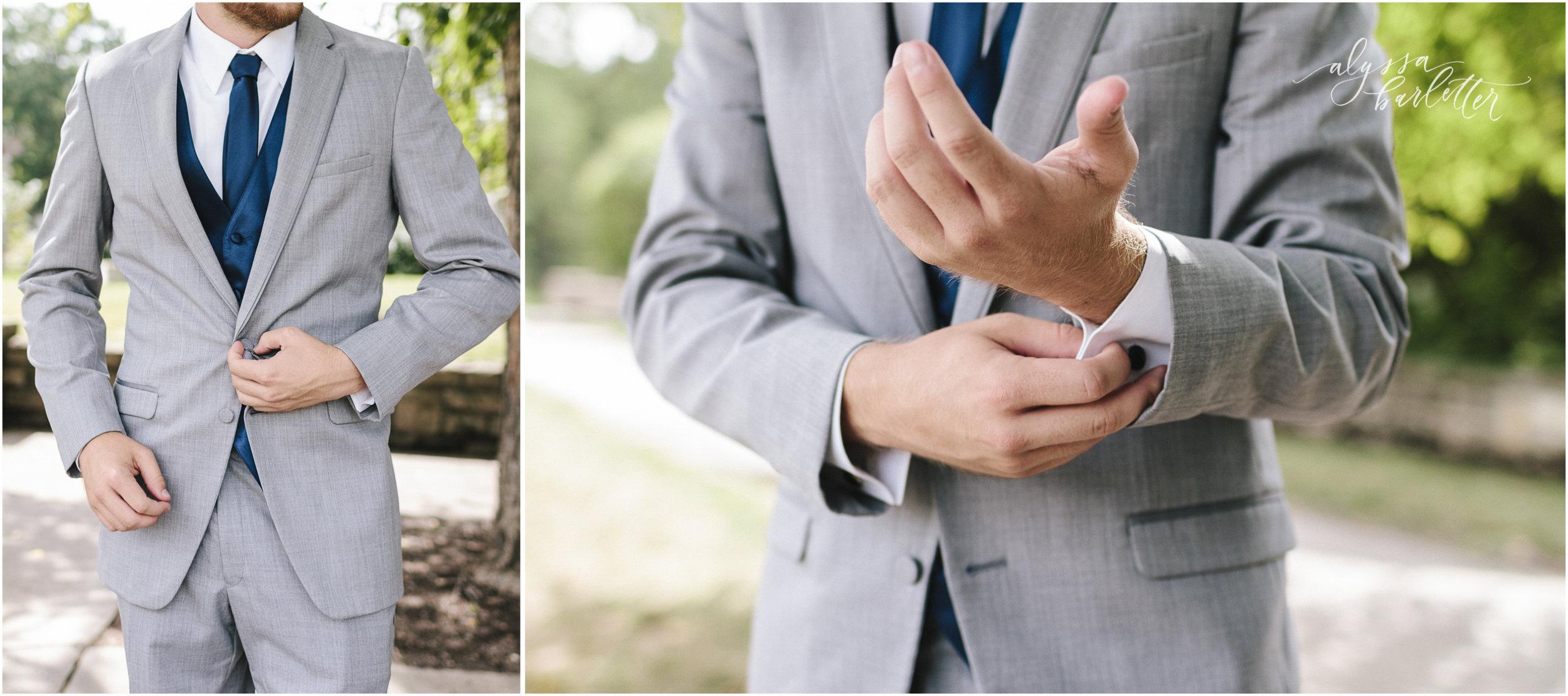 kansas city wedding photographer loose park plaza getting ready groom suit grey