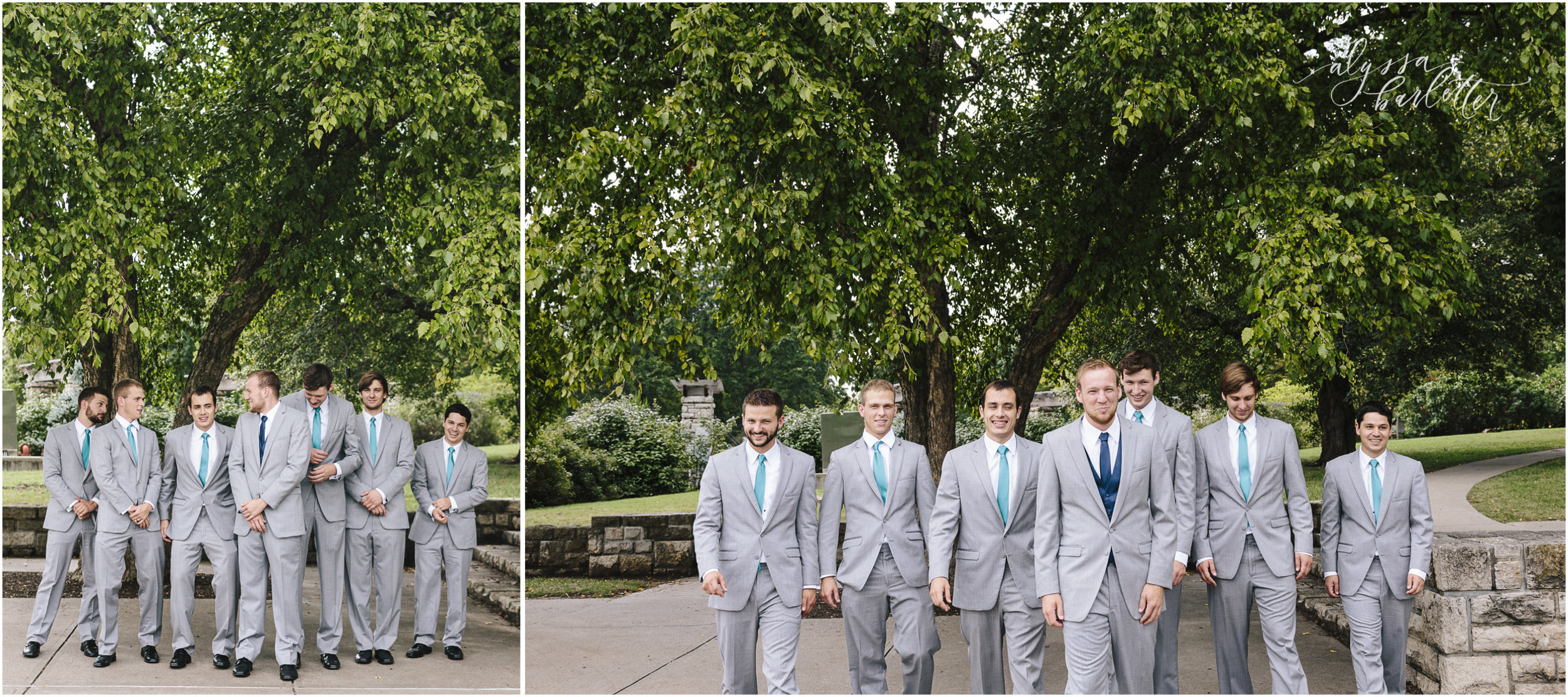 kansas city wedding photographer groomsmen groom grey suits loose park