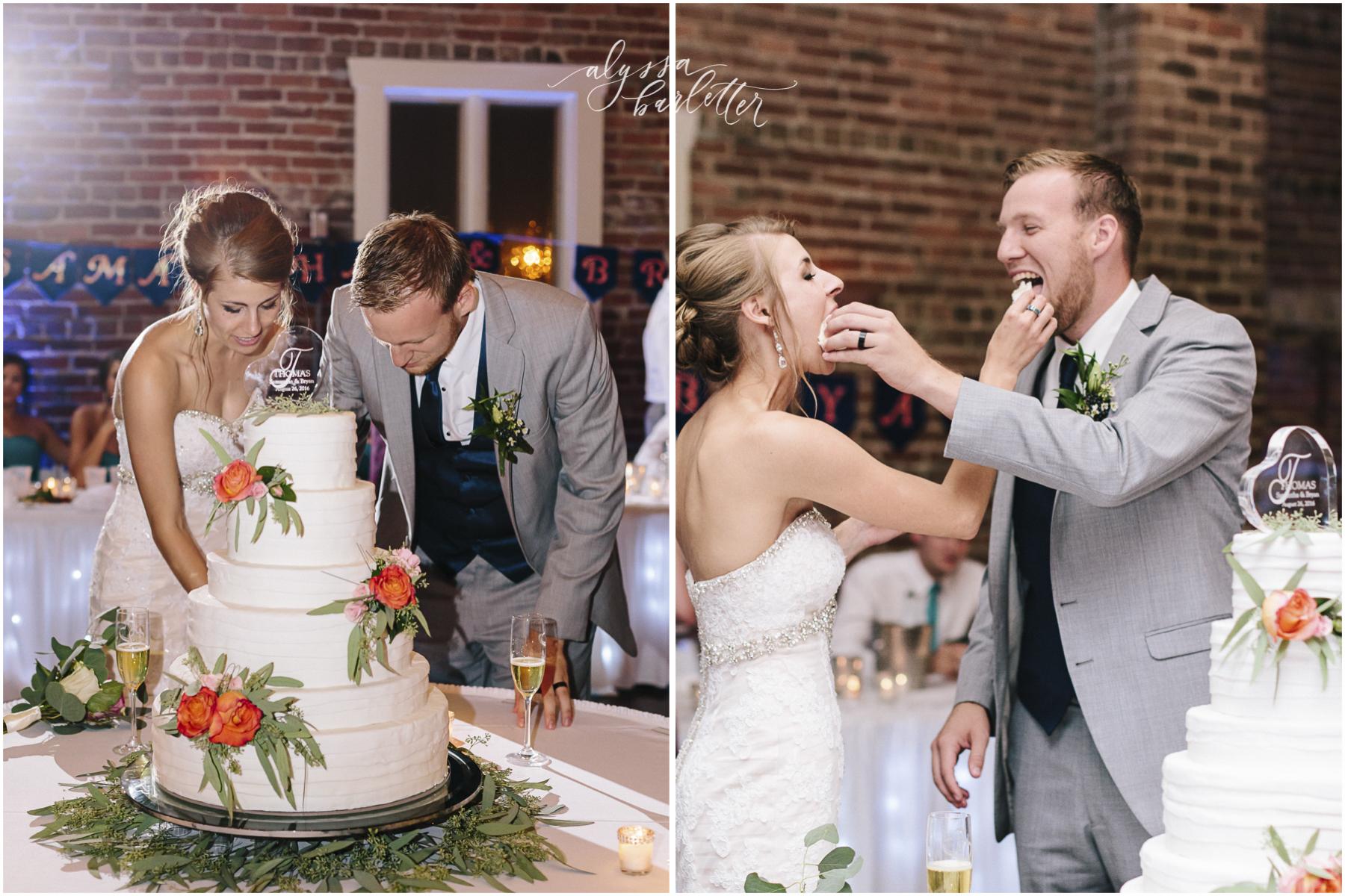 kansas city wedding photographer westport californos reception bride groom cake