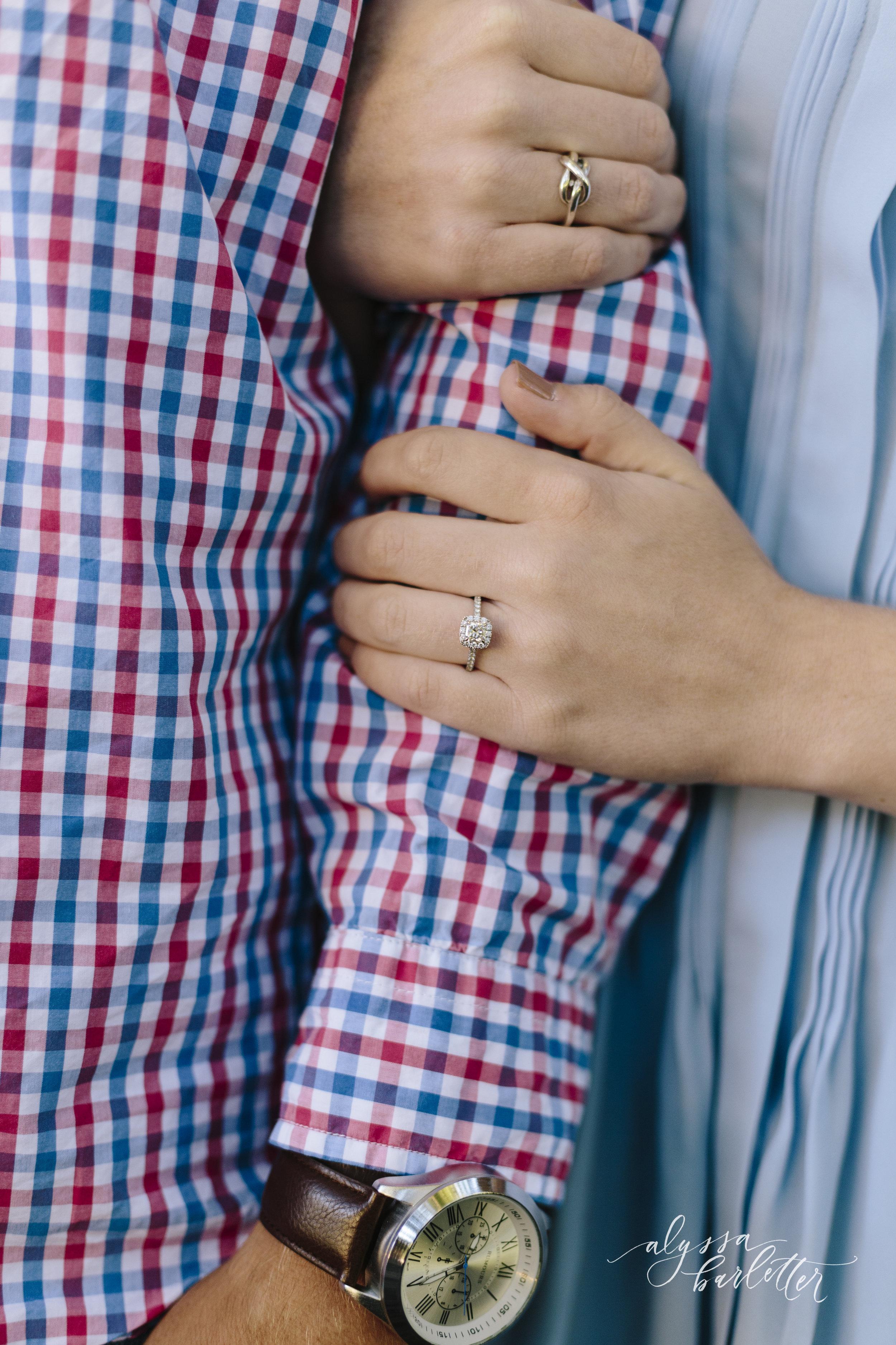 kansas city wedding photographer engagement loose park ring