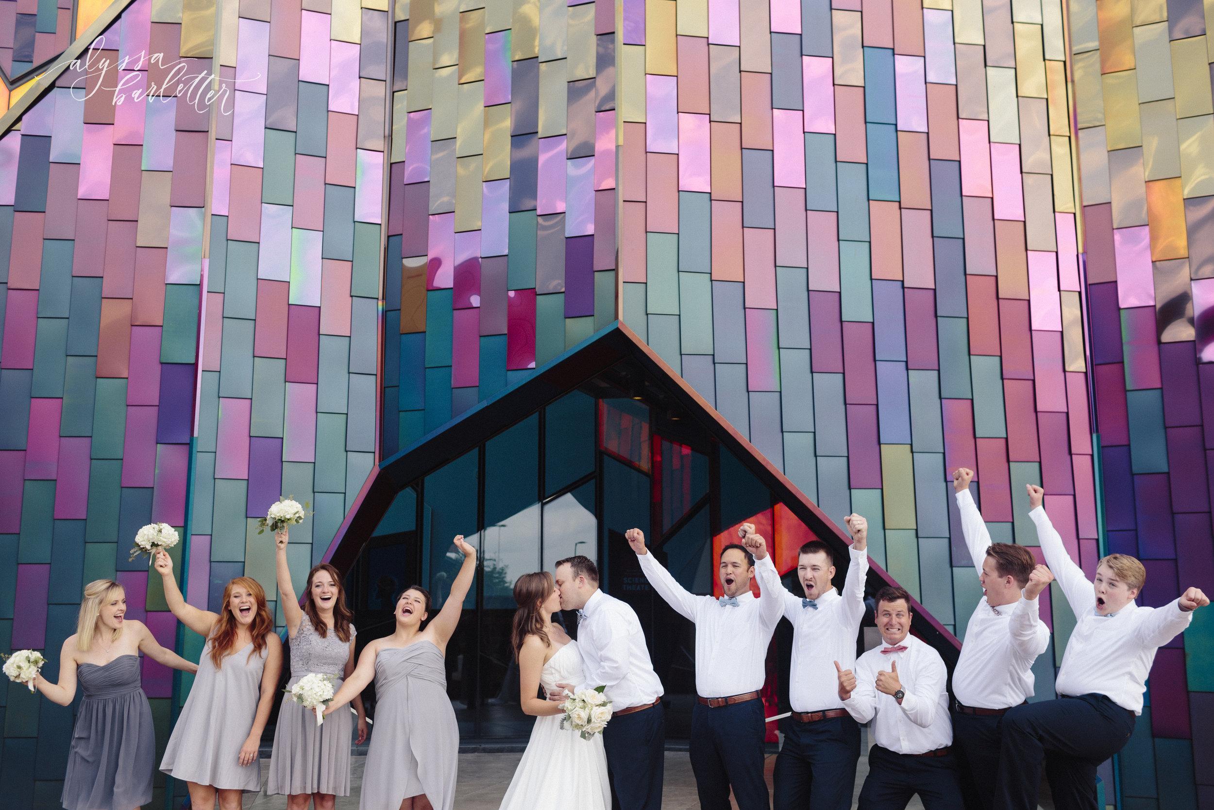 kansas city missouri wedding photographer prairiefire museum kansas bridal party bride groom