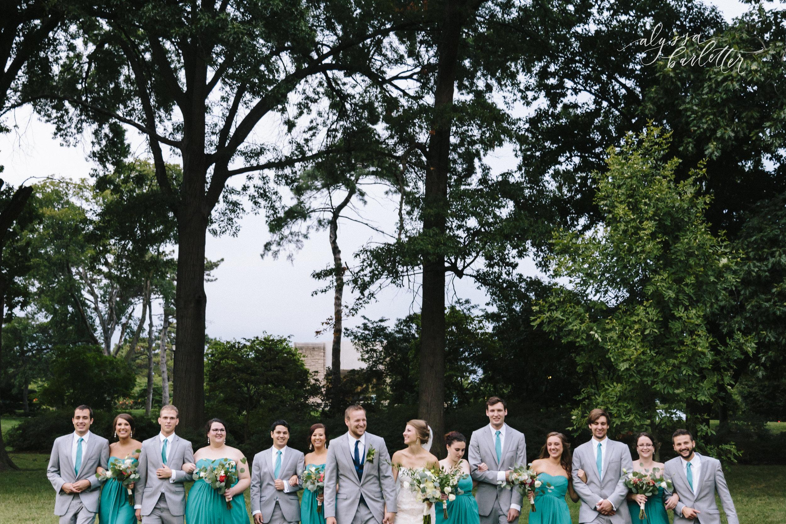 kansas city missouri wedding photographer bridal party loose park bride groom
