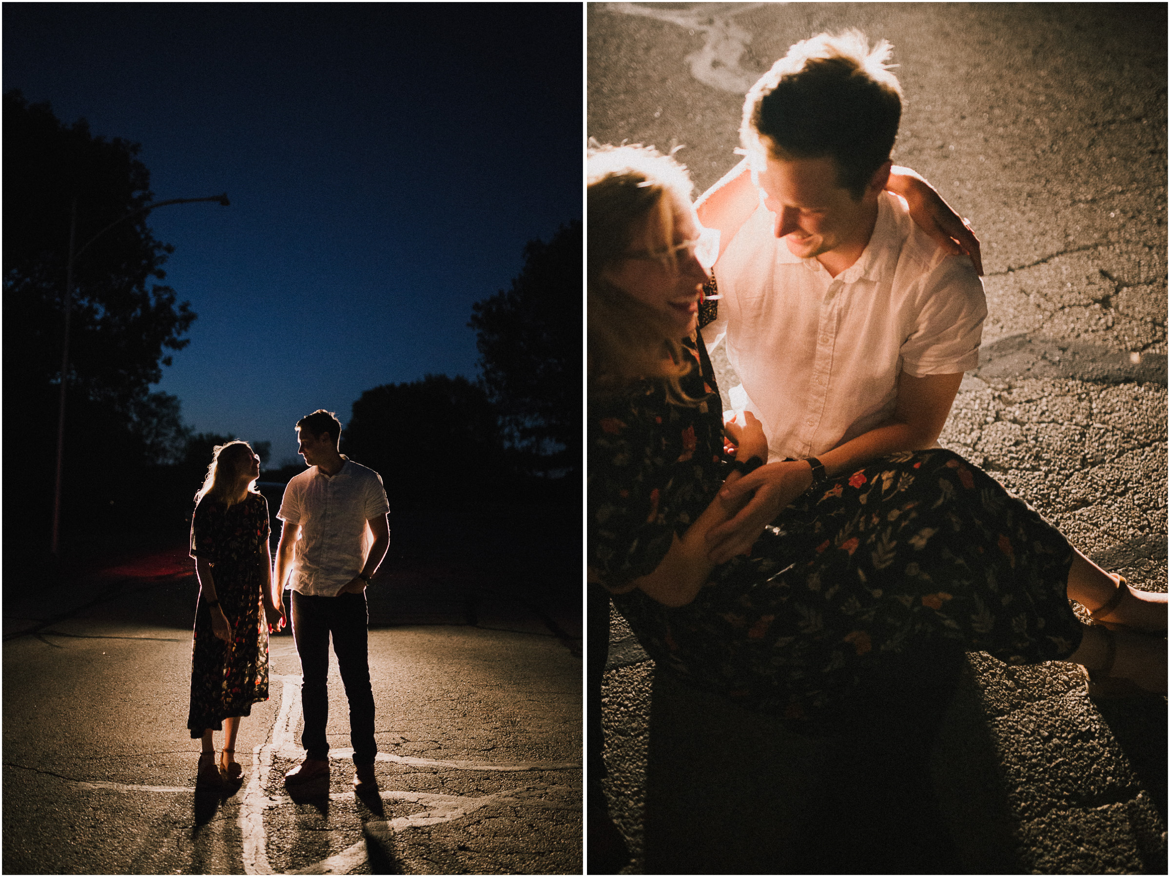 alyssa barletter photography artsy engagement photos headlight car nighttime fun-4.jpg