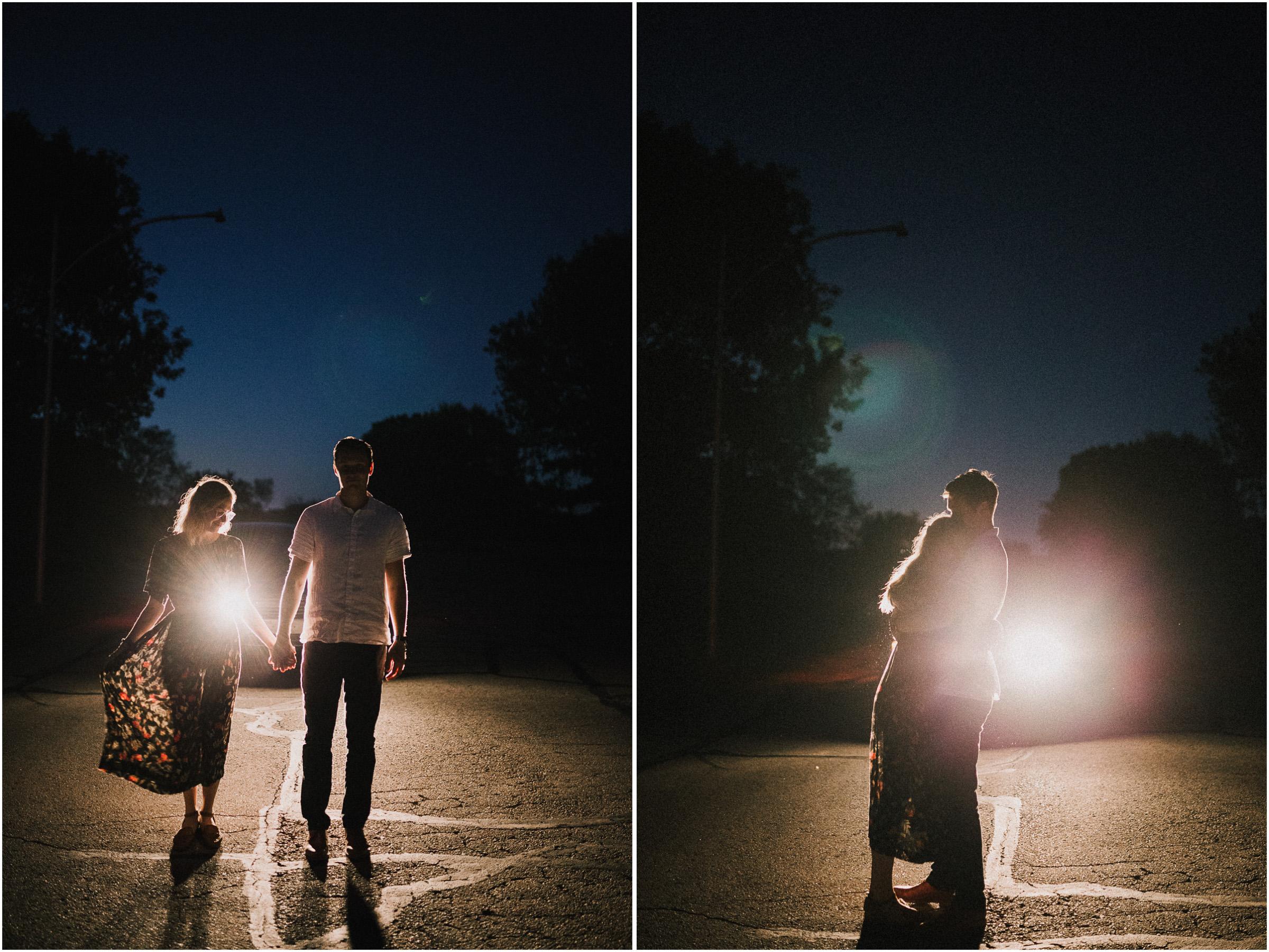 alyssa barletter photography artsy engagement photos headlight car nighttime fun-8.jpg