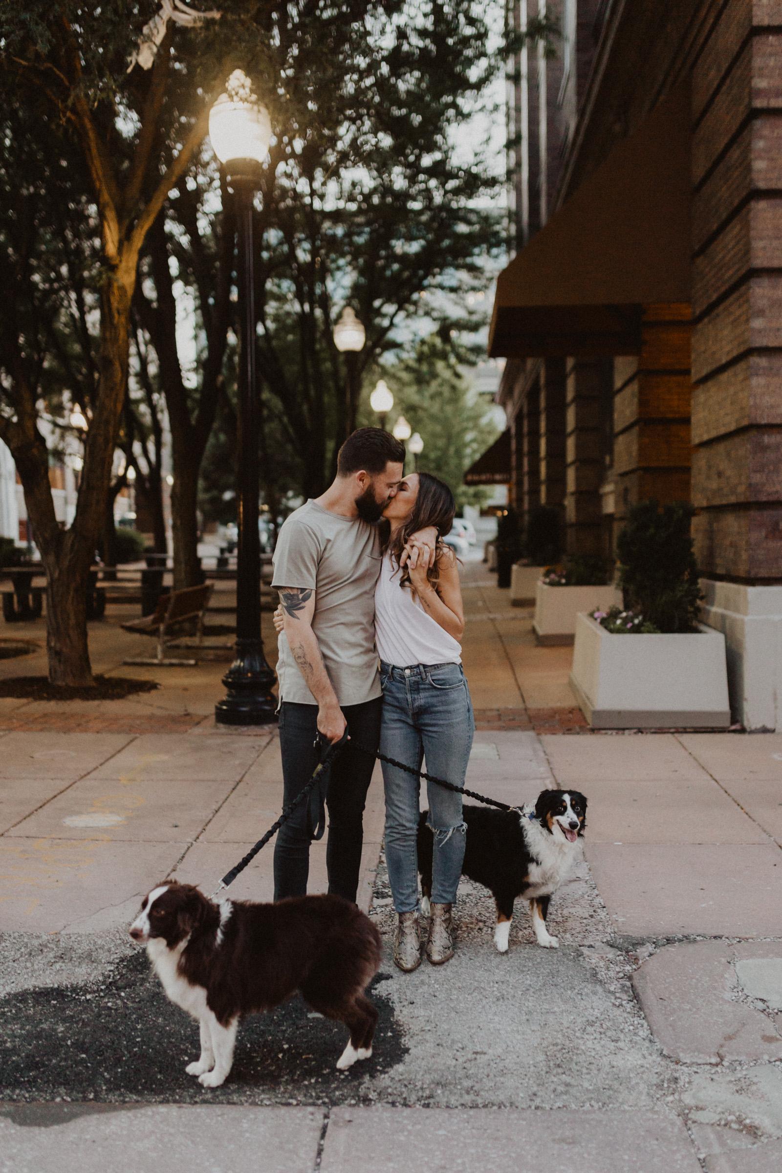 alyssa barletter photography downtown kansas city photos with couple and aussies austrailian shepards-6.jpg