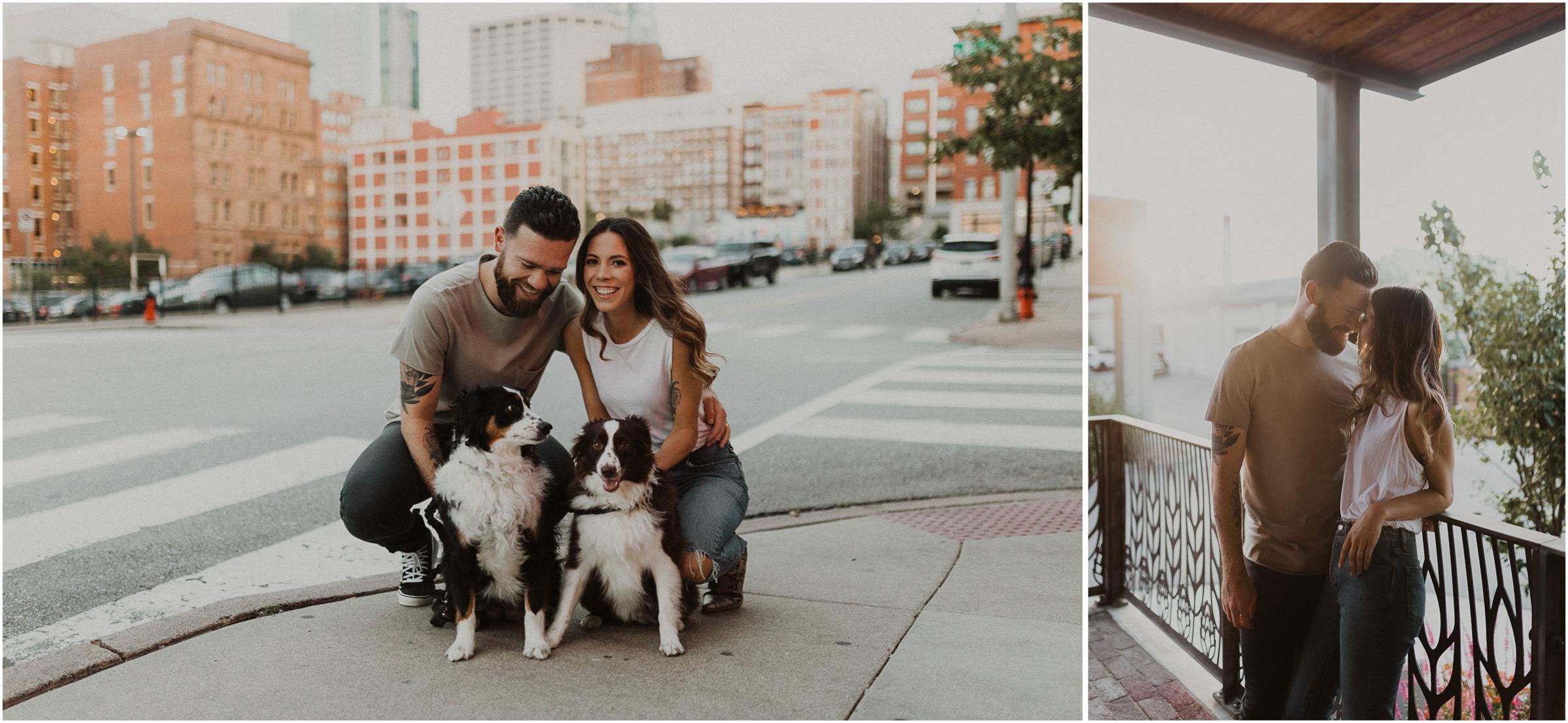 alyssa barletter photography downtown kansas city photos with couple and aussies austrailian shepards-17.jpg