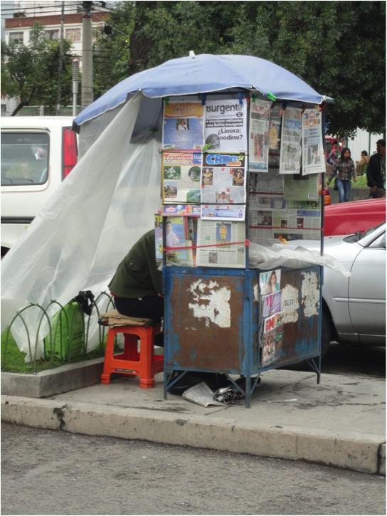 A newspaper kiosk in some PREDICT country waiting for one of our Local Media Surveillance Weekly Readers.
