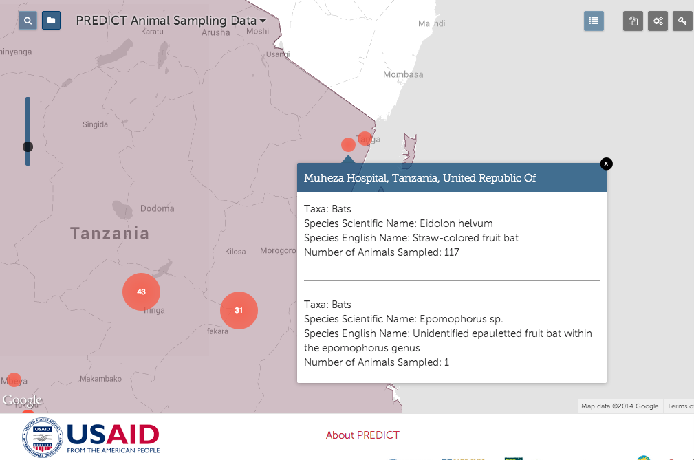 An example of  PREDICT surveillance progress  on our HealthMap site from Tanga.  The HALI team identified Tanga as an area of surveillance priority due to the presence of large bat caves (Amboni Caves) where ecotourists frequently encounter bats and other roosting sites for fruit bats near the Indian Ocean coastline.