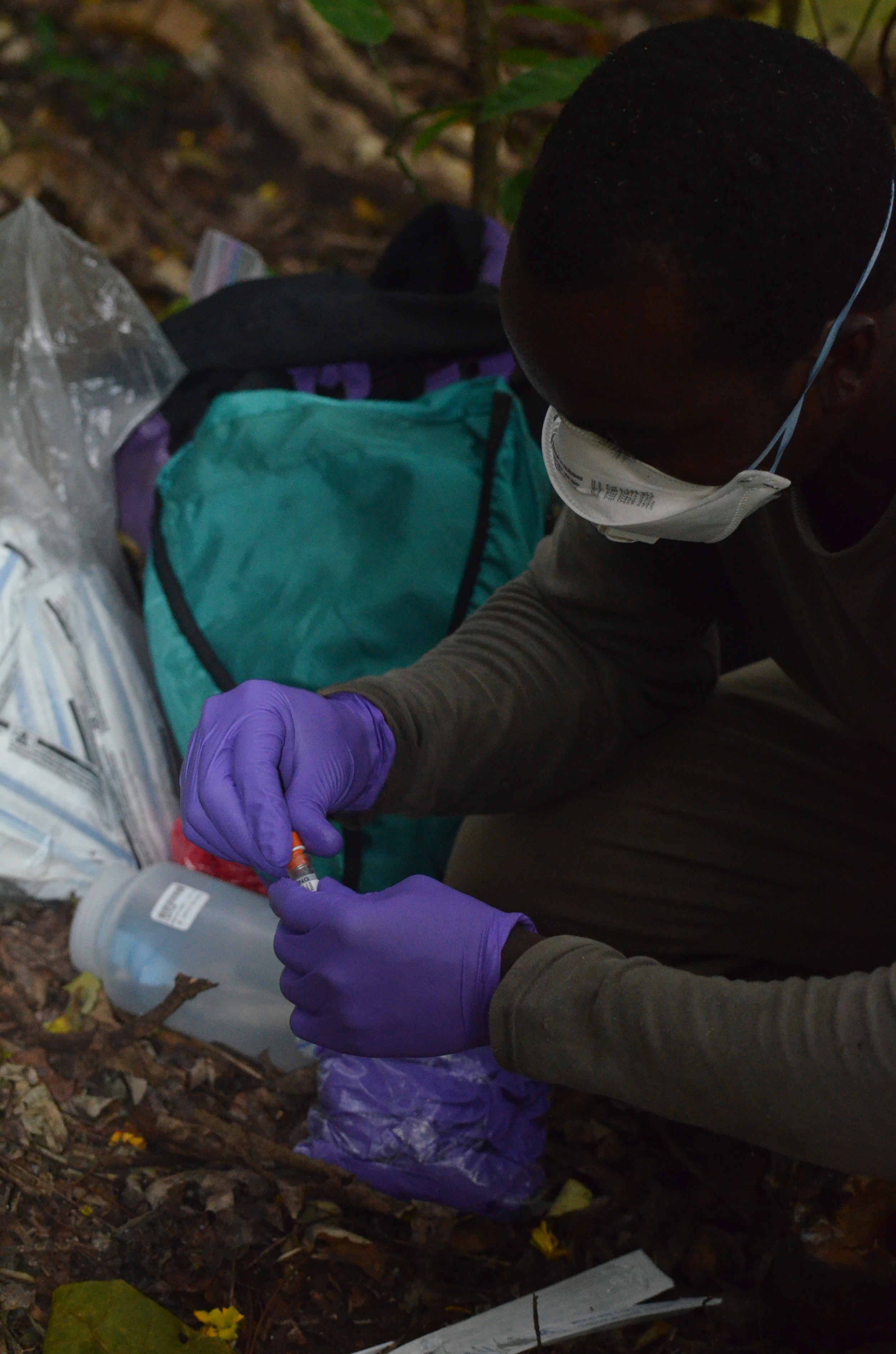 After sampling, the HALI team puts the collected feces into cryovials pre-loaded with a preservation media to protect the genetic material from degradation.