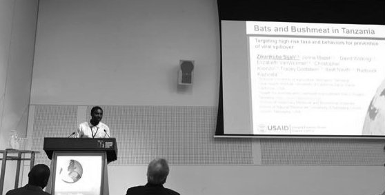 HALI's own Dr. Zikankuba Sijali (Dr. Popo) delivering his talk on bats and bushmeat at OHEH 2016.