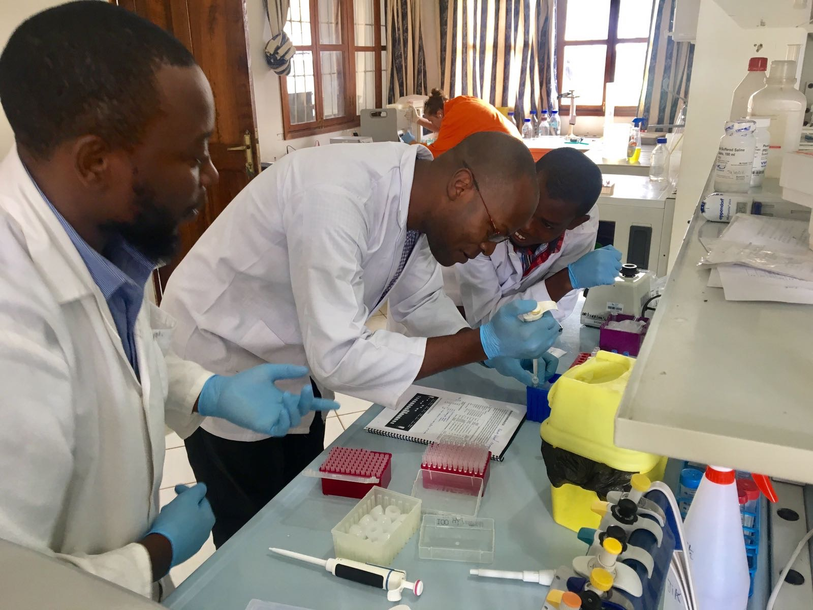 Dr. Abel Ekiri hard at work on the bench.