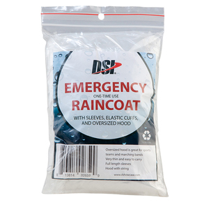 - EMERGENCY RAINCOATS • One time use • Easily fits inside your pocket or backpack • Oversized hood with drawstring easily covers hats, helmets, or shakos (no plumes) • Elastic cuffs around the wrist
